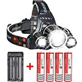UltraFire LED Rechargeable 18650 Headlamp Flashlight, Kit with 4PCS 3.7V Real Capacity 2600mAh Rechargeable Battery + Batteries Charger For Camping,Hiking,Outdoors