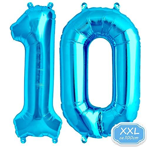 FUNXGO Folienballon Zahl in Blau - XXL / ca.100cm Riesenzahl Ballons - Folienballons für Luft oder Helium als Geburtstag, Hochzeit , Jubiläum oder Abschluss Geschenk, Party Dekoration (Blau [ 10 ])