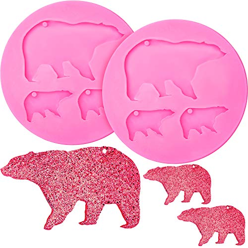 Lowest Price! 2 Pieces Bear Keychains Silicone Mold Bear Molds Fondant Cute Bear Baby Mom Fondant Mo...