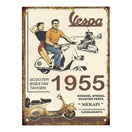 Vespa Motorcycle Metall Blechschild Retro Metall gemalt Kunst Poster Dekoration Plaque Warnung Bar Cafe Garage Party Game Room Hauptdekoration