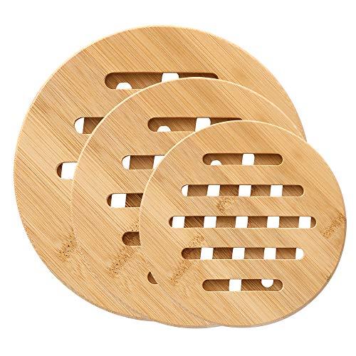 Salvamanteles de Bambú, ZoneYan 3 Piezas Salvamanteles Individuales, Almohadillas de Bambú Resistentes al Calor, Salvamanteles para Ollas Calientes, Antideslizante Bambú Salvamanteles (Redondo)