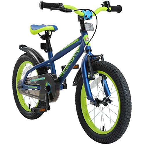 BIKESTAR Bicicletta Bambini 4-5 Anni da 16 Pollici | Bici per Bambino et Bambina Mountainbike con Freno a retropedale et Freno a Mano | Blue & Verde