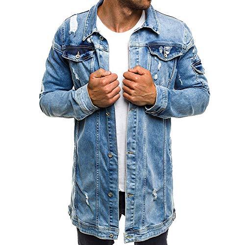 TIMEMEAN Mantel Herren Lang Jeans Jacke Herbst Winter Jahrgang Waschen Betrübt Beiläufig Lange Slim Fit Jacken