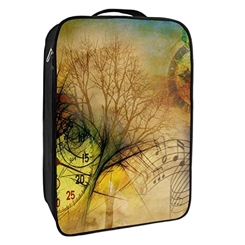Caja de almacenamiento para zapatos de viaje y uso diario, reloj de mariposa, nota musical, árbol de la ciudad, organizador portátil, impermeable, hasta 12 yardas con doble cremallera, 4 bolsillos