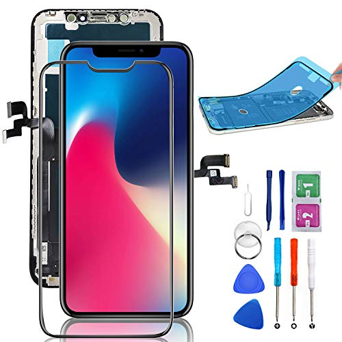 for iPhone X Screen Replacement Repair Kit Assembly with 3D Touch Display Digitizer 5.8 inch with Complete Repair Tools and Screen Protector (Black)