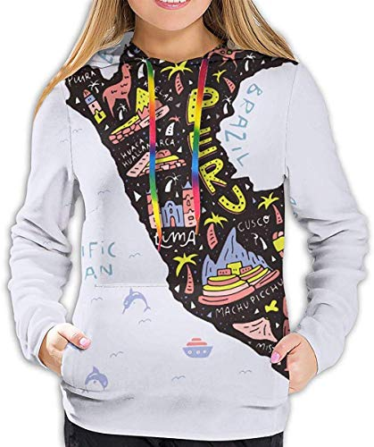 Tamianice Dames Hoodie Stock-vector-cartoon-map-of-peru-vector-illustratie-with-all-main-symbols-of-the-country-687476596 sweatshirt
