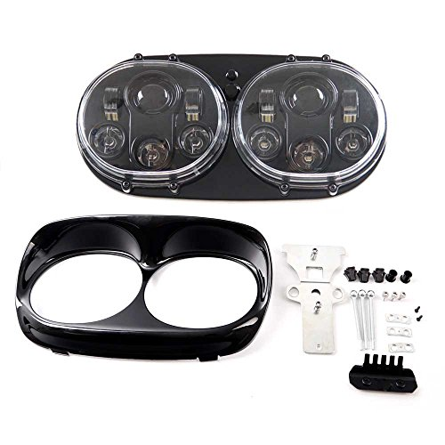 Funlove Projector Dual LED Headlight for Motorcycle Road Glide 2004-2013