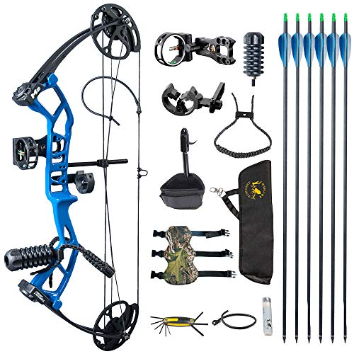TOPOINT ARCHERY M2 Junior Compound Bow Set Beginners,Youth&Kids Bow Women Bow 17'-27' Draw Length,10-40Lbs Draw Weight,290fps IBO, Limbs Made in USA,Bow Only 2.54lbs,Lightweight Design (Blue)