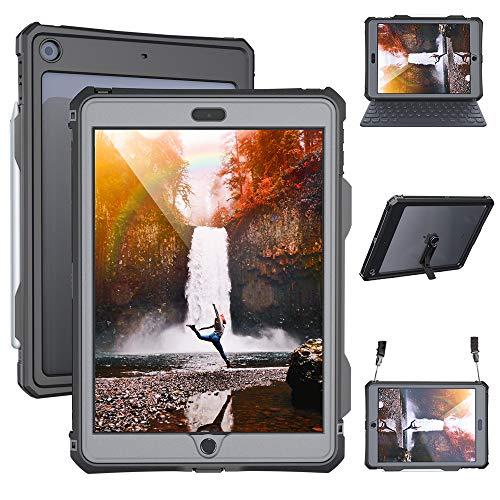 Funda iPad 10.2 impermeable 7th Generation 2019 Fundas de protección de cuerpo completo para iPad 7 gen 10.2 pulgadas a prueba de golpes, a prueba de vida con soporte para correa Soporte para lápiz