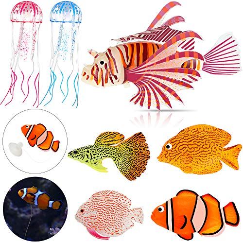 Weewooday 7 Pieces Artificial Glowing Fish 5 Styles Colorful Fake Fish Glowing Effect Aquarium Decor Floating Ornament Simulation Jellyfish for Fish Tank Decoration