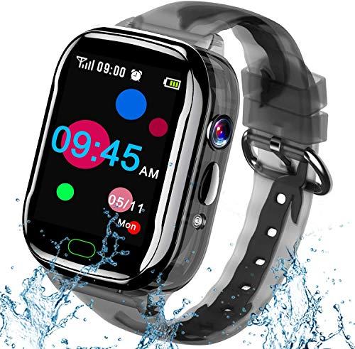 iGeeKid Kids Smart Watch Phone-IP67 Waterproof Smartwatch Boys Girls Toddler Digital Wrist Watch 1.44'' Full Touch,Calls,Camera,Gizmos Games,12/24 Hr Stopwatch Calculator Alarm Learning Toys (Black)