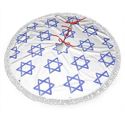 KZEMATLI Jewish Star Christmas Tree Skirt30 36 48 Inches Xmas for Holiday Party Decorations Outdoor Accessory Gift