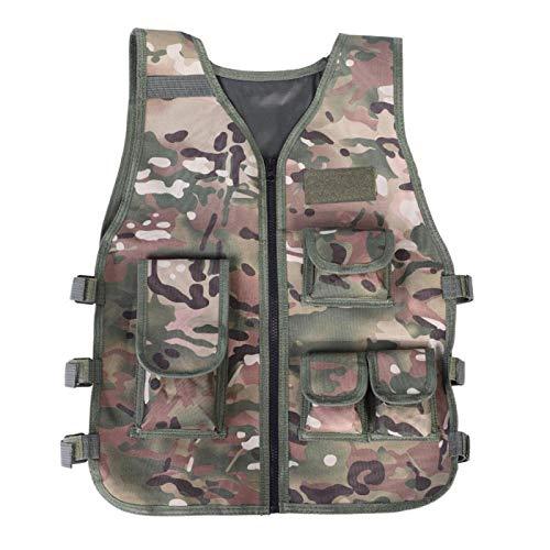 FOLOSAFENAR Chaleco de Camuflaje Transpirable, para Juegos al Aire Libre con Multibolsillos(CP Camouflage L)