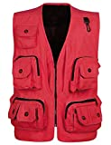 Flygo Men's Outdoor Work Utility Fishing Hunting Photography Travel Vest with Multiple Pockets (Small, Red)