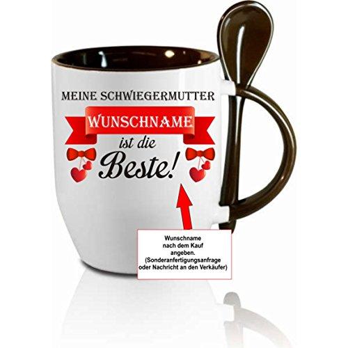 Creativ Deluxe Tasse m. Löffel - Meine Schwiegermutter (Wunschname) ist die Beste - Kaffeetasse mit Motiv, Bedruckte Tasse mit Sprüchen o. Bildern - auch indiv. Gestaltung