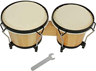 Bongo Drums Funien Bongo Drums Wooden Percussion Instrument Drum Set Including 5.5 Inch & 6 Inch Drums Natural Finish Chil...