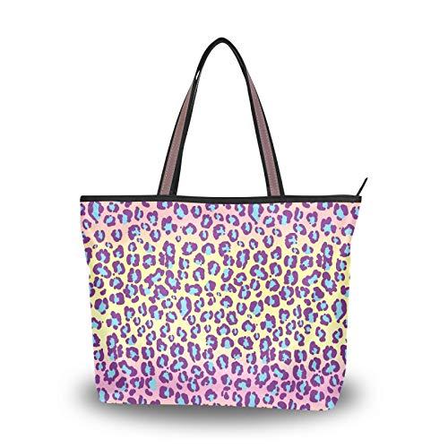 Bolsos Bolsos de hombro Patrón de piel de jaguar Leopardo Manchas exóticas salvajes para mujeres Niñas Señoras Monedero para estudiantes Bolso de compras Bolso de mano Correa liviana