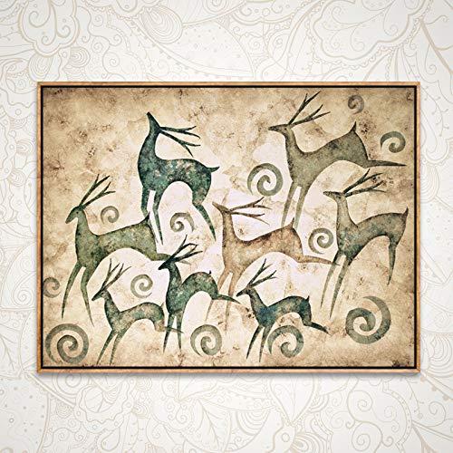 baodanla No Frame Fortune hert kantoor school slaapkamer olieverfschilderij