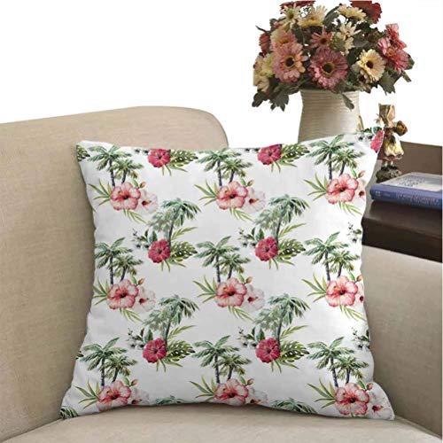 DayDayFun Custom Pillowcase Hawaii Decorative Cushion Covers Aquarelle Effect Palm Trees Hibiscus Flowers Romantic Summer Bloom 14 x 14 inch Pale Pink Ruby Reseda Green