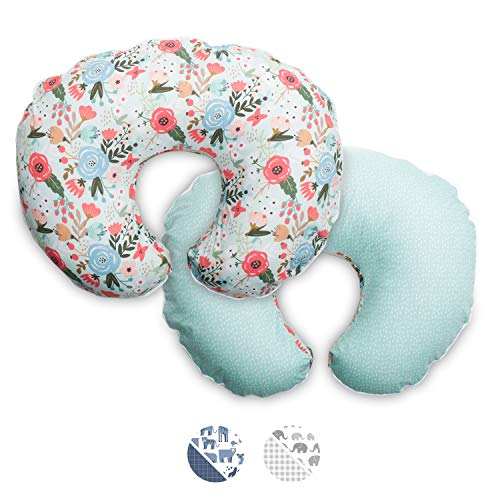 Boppy Premium Nursing Pillow Cover, Mint Floral, Ultra-Soft Microfiber Fabric in a Fashionable Two-Sided Design, Fits All Boppy Nursing Pillows and Positioners