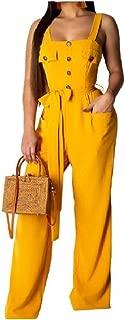 XINHEO Women's Pockets Buttons Wide Legs Hi-Waist Long Pants Romper Overalls Jumpsuit