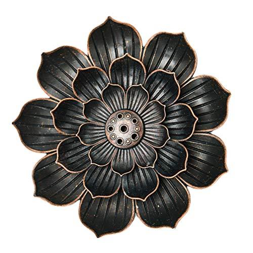 PRETYZOOM Lotus Quemador de incienso, cono, soporte de incienso, cono, recogedor de cenizas, quemador artesanal, regalo para textiles del hogar (café)