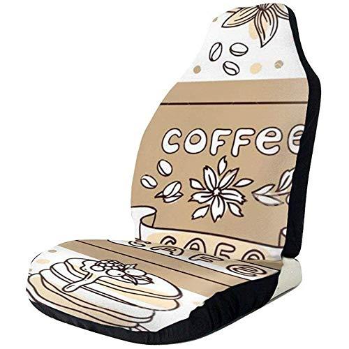 KDU Mode Voorste Stoelhoes, Mooie Hand getrokken Vector Illustratie Koffie En Snoepjes Voorste Stoelhoezen 2 Stks Comfortabele Voorste Auto Stoelhoezen Voor Auto Auto Bestuurder