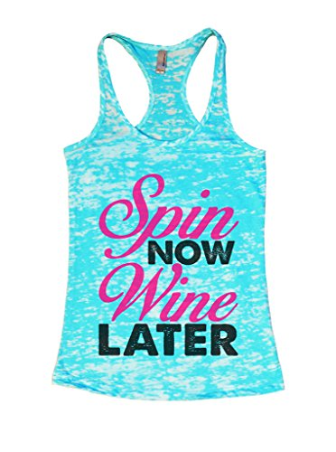 """Funny Threadz Womens Funny Exercise Spin Class Workout Tank """"Spin Now Wine Later Medium, Blue"""