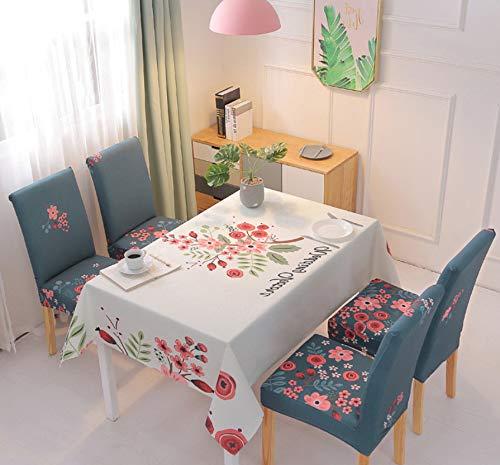 KDENDGGA Blumenzwiebeln, Umgeben Von Weißer Tischdecke Mit Antifouling-Effekt, Waschbarer Tischdecke Aus Baumwolle Und Leinen, Rechteckige Küchenbankett-Tischdecke 140X180 cm