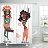 Emvency Fabric Shower Curtain with Hooks Colorful Dreadlocks Two Cute Reggae Cartoon Men Woman Jamaica Rasta Man Flat Island 72'X72' Decorative Bathroom