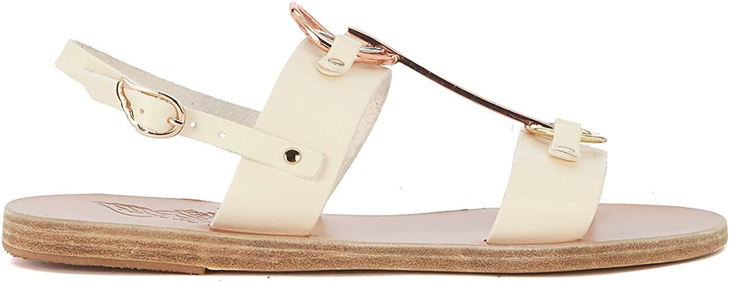 ANCIENT GREEK SANDALS Woman's Kriti White Leather and Metal Sandal