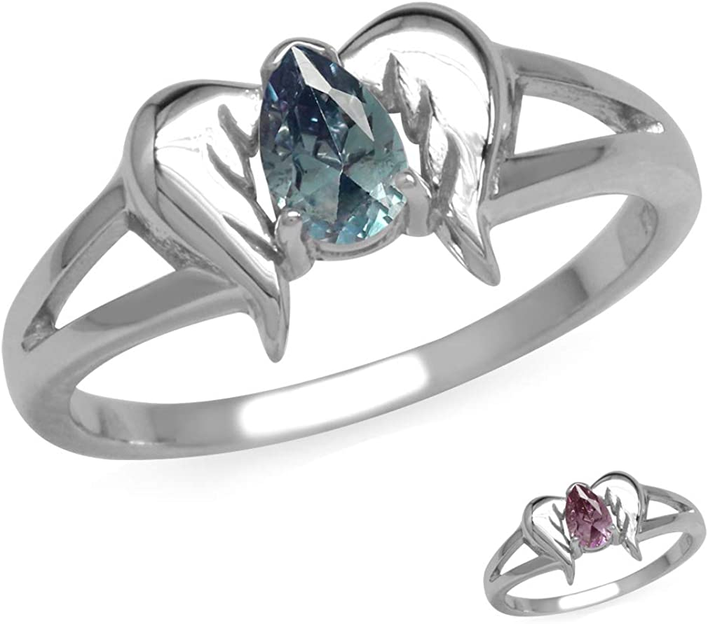 Bargain sale Silvershake 925 Sterling Silver Angel Gemstone Ring Max 70% OFF Wings