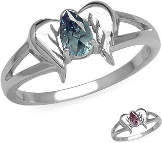 925 Sterling Silver Angel Wings Gemstone Ring