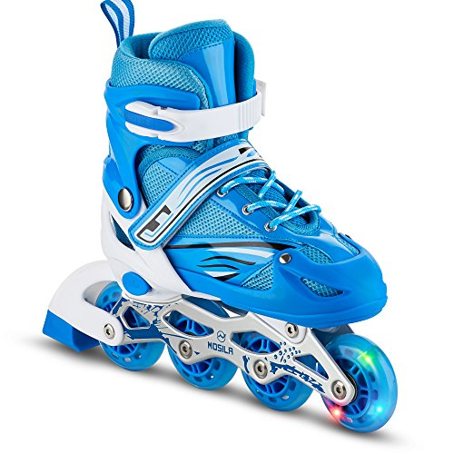 Kids Inline Skates – Top Performance Roller Skate for Girls and Boys – Easily Adjustable, Fits US Kids size 4-6, Expands as Your Child Grows - Light Up-Front Wheel and Low Friction Wheels (3-5)