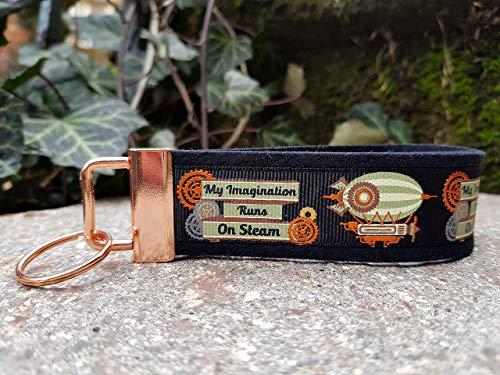 Schlüsselanhänger Schlüsselband Filz schwarz Ripsband Steampunk Heißluftballon Kupfer Geschenk!