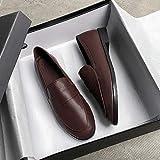 Youpin Zapatos de diseño de primavera de talla grande 44 para mujer, zapatos planos de piel para mujer, mocasines para mujer, zapatos de mujer JJ22 (color: marrón básico, talla de zapato: 41)