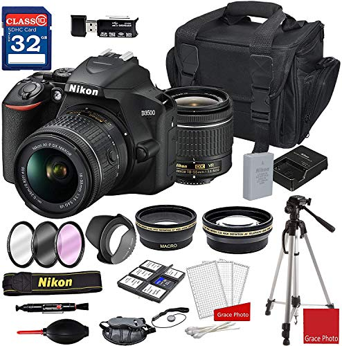 Nikon D3500 DSLR Camera with AF-P DX NIKKOR 18-55mm f/3.5-5.6G VR Lens + Nikon DSLR Camera Case + 32GB Memory Bundle (24pcs)