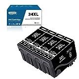 LogasMart Cartuchos de tinta 34XL para Epson 34 34 XL con Epson Workforce Pro WF-3720DWF WF-3725DWF WF-3720 DWF WF-3725 DWF WF-3720 WF-3725 impresora 34XL negro
