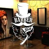 ASFGA Cool Barba Sombrero Barber Shop Stickers Costillas Personalizadas Pan Shop Poster Vinilo Arte de la Pared decoración de la Ventana Barber Razor Glass Decals 36x58cm