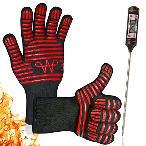 WERTA Grillhandschuhe inkl. Grill-Thermometer Digital - Hitzebeständige Handschuhe bis zu 800°C Größe 9 - Backhandschuhe Topfhandschuhe Ofenhandschuhe für Grill - BBQ Zubehör