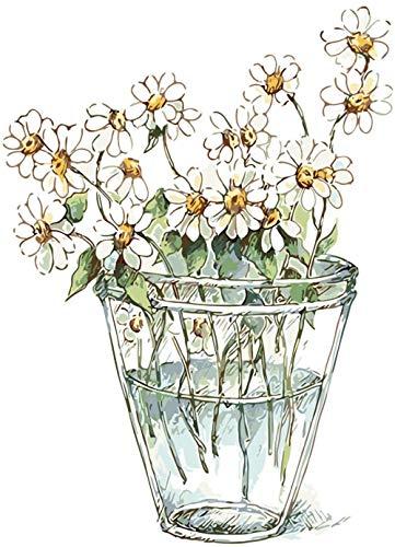 Pintura por números para niños y principiantes kit de pintura pintura acrílica de alta calidad pintura al óleo (sin marco) - Crisantemo blanco en la botella