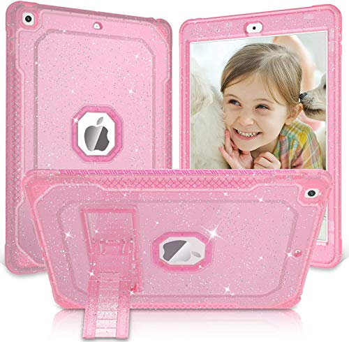 ZoneFoker iPad 10.2 Case 2019/2020, iPad 8th/7th Generation Case, Clear Glitter Dual Layers Heavy Duty Shockproof iPad Case with Built-in Stand Tablet Cover for iPad 10.2 inch case-Glitter Pink
