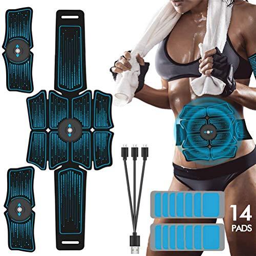 EMS Abdominal Arm Trainer Körperschlankheitsgürtel ABS Muskelstimulator Toner mit 14 Pflastern für Fitnessübungen zu Hause