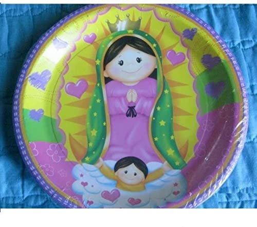 VIRGENCITA GUADALUPE Party Baptism FAVOR Birthday LUNCH PLATES x12 Lupita Fiesta by Lgp