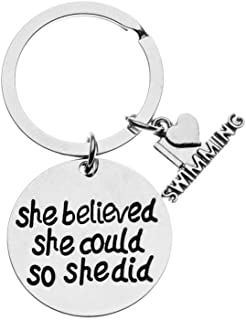 Swim Keychain, She Believed She Could So She Did Swimming Jewelry, Swimmer Jewelry for Swimmers & Swim Teams