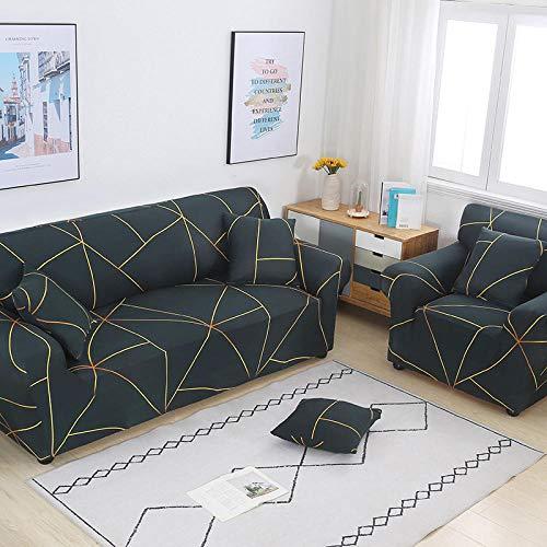 Funda Sofa 1 Plaza Líneas Doradas Verde Oscuro Fundas para Sofa con Diseño Elegante Universal,Cubre Sofa Ajustables,Fundas Sofa Elasticas,Funda de Sofa Chaise Longue,Protector Cubierta para Sofá