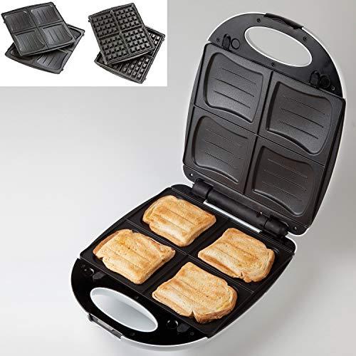 2in1 XL Familien Sandwich-Toaster für 4 Sandwich oder Waffelautomat für 4 leckere Waffeln Domo DO9046C