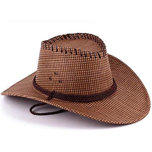 Azly-Caps Chapeaux normaux normaux unisexaux de Paille, Chapeaux formables de Bord/mentonnière pour Le Chapeau de Soleil de Plage d'été,Marron