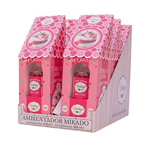 VINTAGE PARFUM Pack 6 Ambientadores Mikado. 6 x 30ml. Fragancia Fresca y Duradera Que llenará Toda tu Estancia.… (Fresas y...