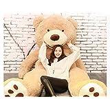 HYAKURI特大 くま/テディベア 可愛い熊 動物 大きい/巨大 くまぬいぐるみ/熊縫い包み/クマ抱き枕/お祝い/ふわふわぬいぐるみ (130cm, ライトブラウン)
